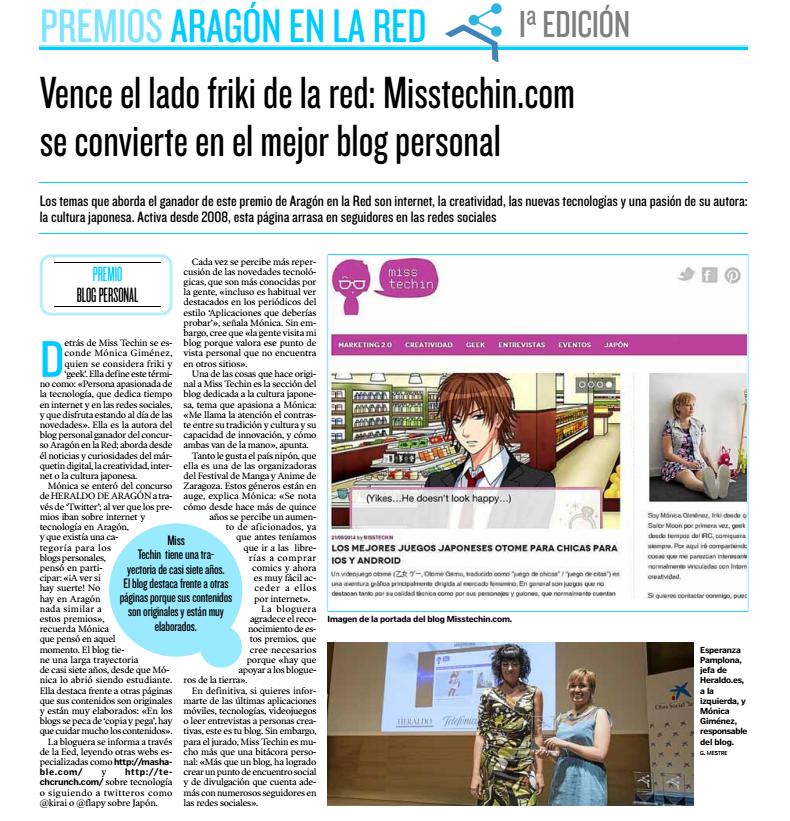 Entrevista publicada en Heraldo de Aragon
