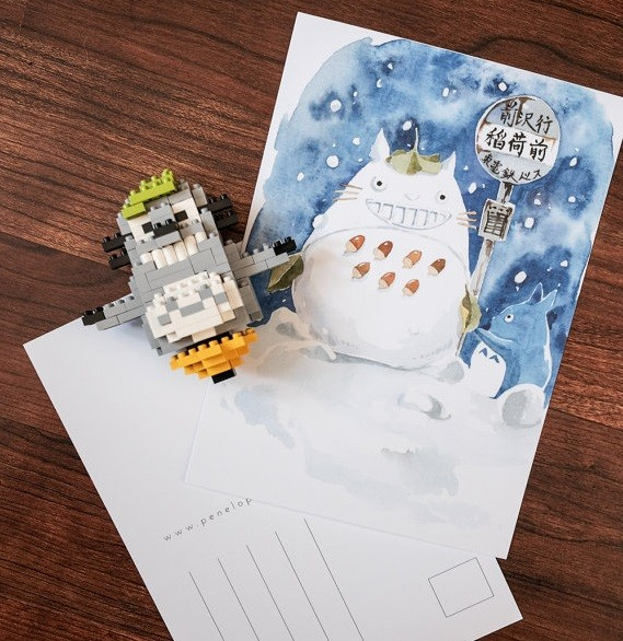 Postal Ilustracion Totoro