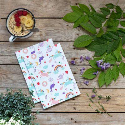 cuaderno unicornios y arcoiris kawaii