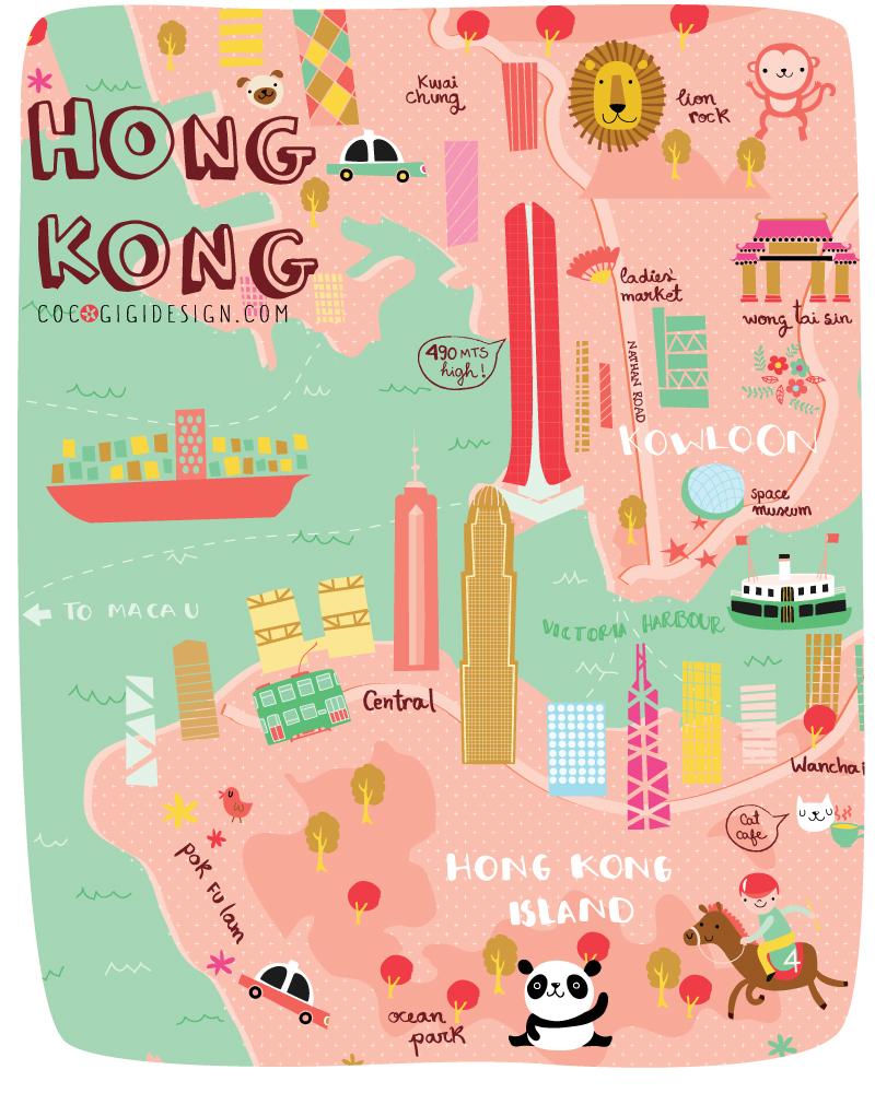 Ilustracion mapa Hong Kong
