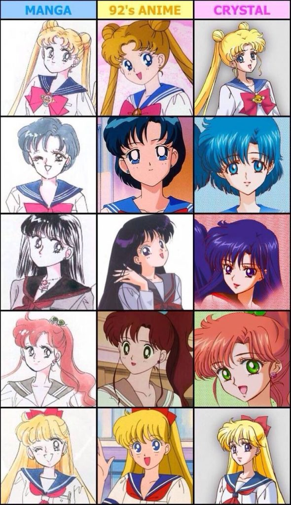 comparacion sailor moon manga anime